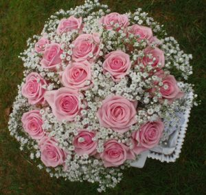 Petite Pink Roses With Gypsophila