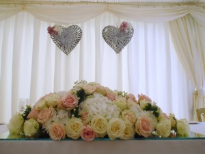 Exquisite Rose And Hydrangea Top Table, Lindfield