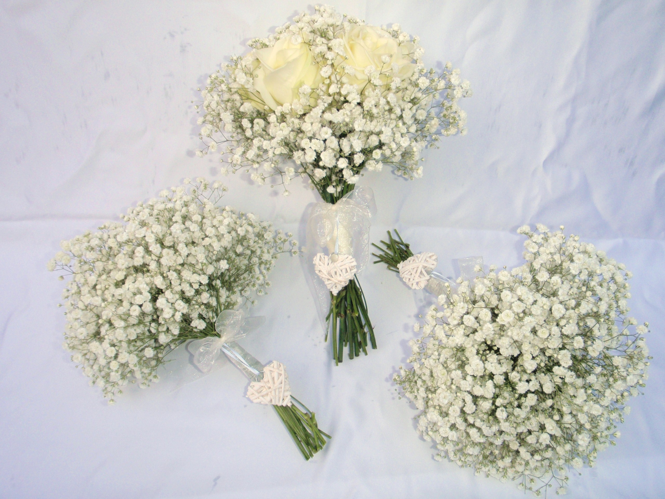Gypsophila and Rose Bouquets with Heart