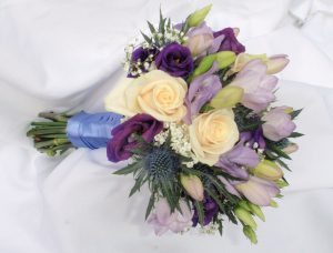 Freesia And Lisianthus Wedding Bouquet