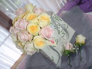 Pastel Yellow And Pink Rose Bouquet With Buttonholes